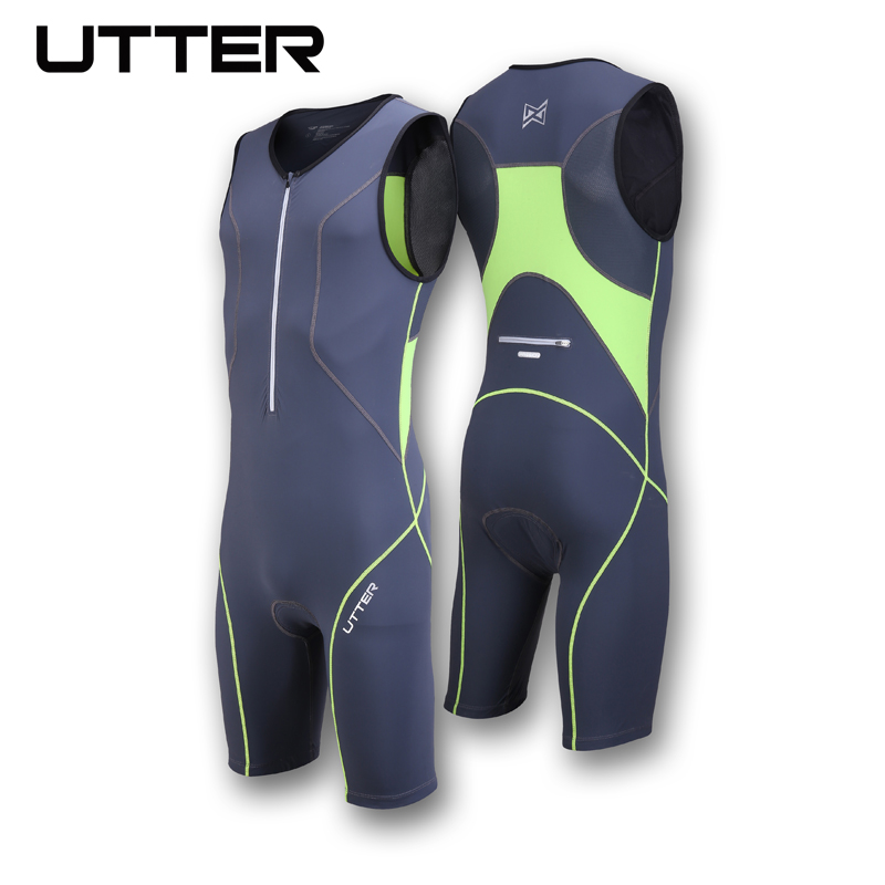 UTTER Passion P2 One Piece Green and Blue Cycling Jersey Sets Anti UV Men Breathable Triathlon