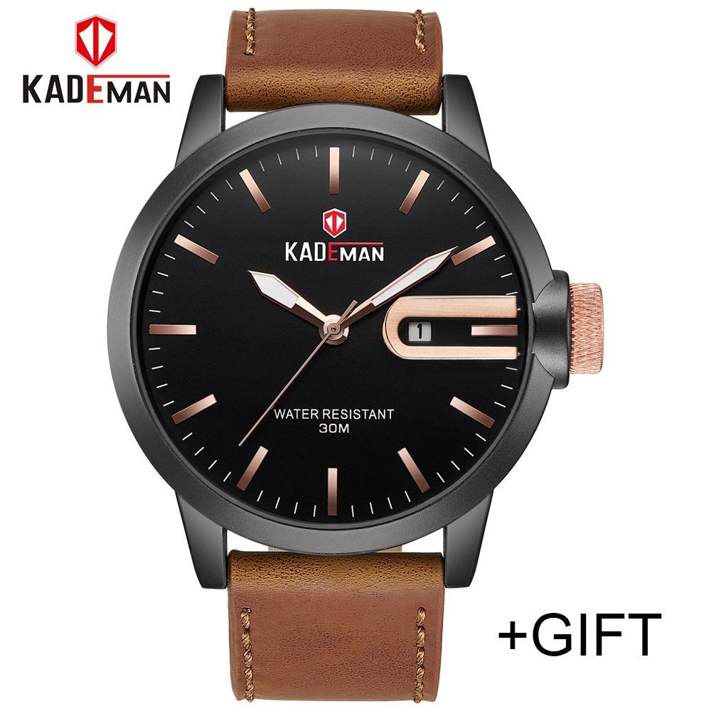 KADEMAN Mens Watches Sports Military Casual Luxury Top Brand Men Leather Quartz Watch Analog WristWatch Relogio Masculino