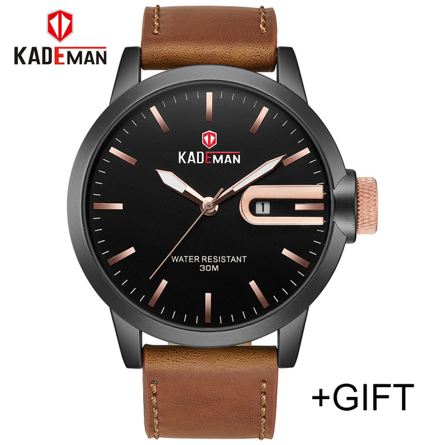 KADEMAN Mens Watches Sports Military Casual Luxury Top Brand Men Leather Quartz