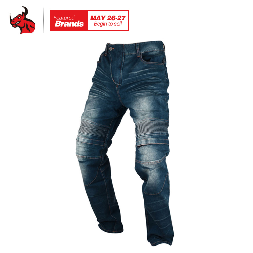 DUHAN Windproof Motorcycle Jeans Casual Pants Mens Motorbike Motocross Off-Road Knee Protective Moto Jeans Trousers