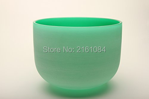 """11"""" Green Color F# Note Heart Chakra Frosted Quartz Crystal Singing Bowl with free suede and o-ring"""