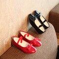 2017 primavera y otoño las niñas zapatos de baile de moda los estudiantes marea arco pequeño de cuero de moda a prueba de agua para niños y zapatos planos Del Bowknot chil