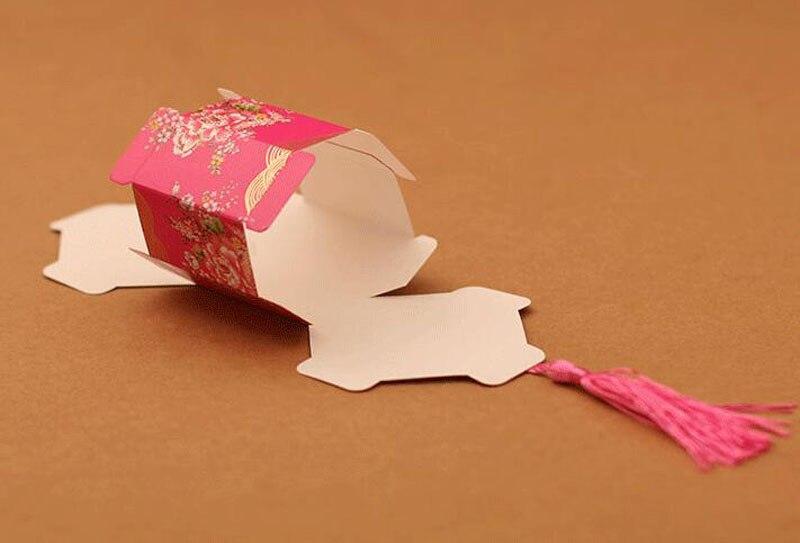 100 pcs/lot nouveau chinois Double bonheur boîte à bonbons parti faveur emballage chocolat emballage avec des glands - 5