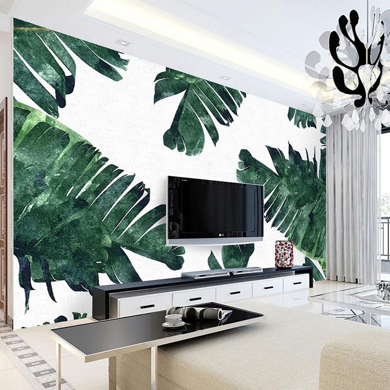 Photo Wallpaper 3D Banana Leaf Plant Wall Mural Living Room TV Sofa Bedroom Backdrop Wall Home Decor Modern Simple 3 D Wallpaper