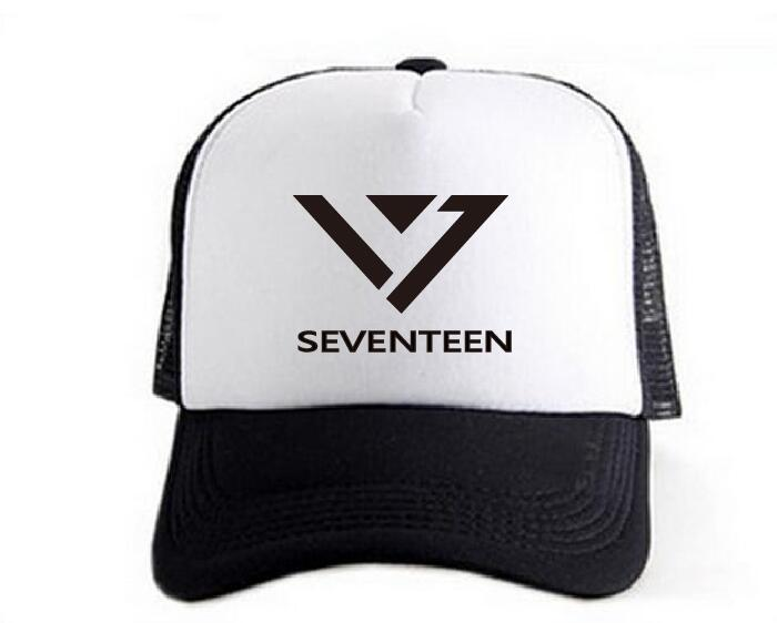2017 new kpop Seventeen17 hat summer Breathable baseball cap Black and white mixed colors and leisure cap Mountaineering bts taehyung warriors