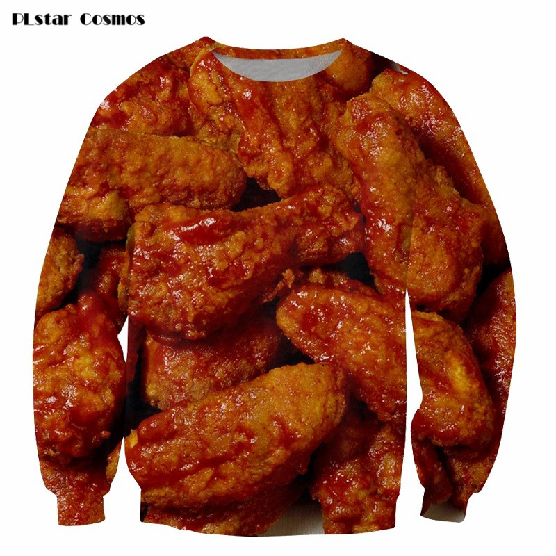 1d4c2b4d0a20 2018 Fashion 3D Sweatshirt Funny Chicken Wings Full Printed Crewneck  Sweatshirt Hip Hop Pullover Hoodie Streetwear Drop ship 5XL