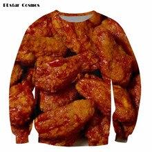 2017 Fashion 3D Sweatshirt Funny Chicken Wings Full Printed Crewneck Sweatshirt Hip Hop Pullover Hoodie Streetwear Drop ship 5XL