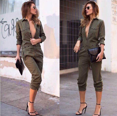 53d1665724e Europe and the big 2015 army green leisure pants female fashion female  Siamese trousers long sleeve Jumpsuit lapel