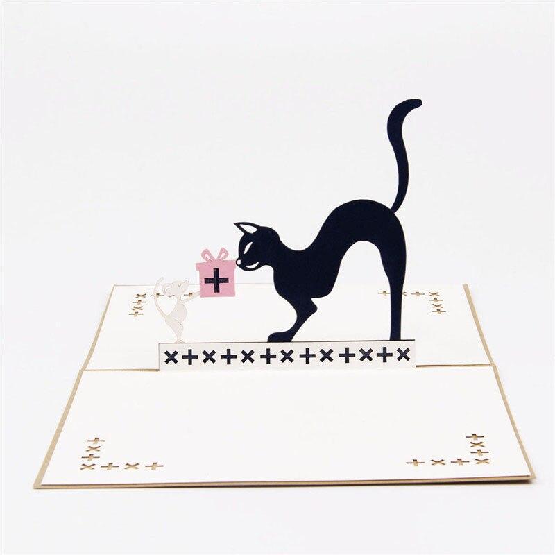 3d Laser Cut Handmade Cute Black Cat Mouse Paper
