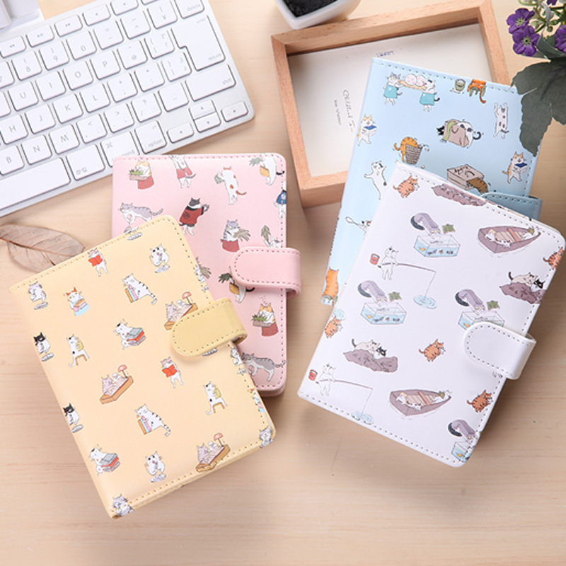 Cat cartoon PU leather cover buckle  travel diary color page note book agenda journal planner notebook creative stationery 140 page note paper creative fruit design