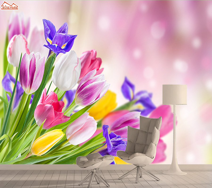 3d Nature Tulip Flower Wallpapers For Living Room Mural Wallpaper Embossed Wall Paper Papers Home Decor TV Walls Murals Rolls
