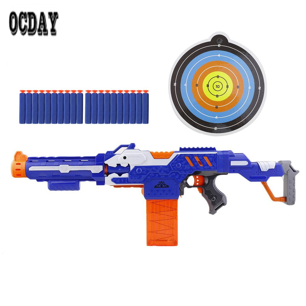 OCDAY Electric Soft Bullet Toy Gun with Box Shooting Submachine Gun Weapon Soft Water Bullet Bursts