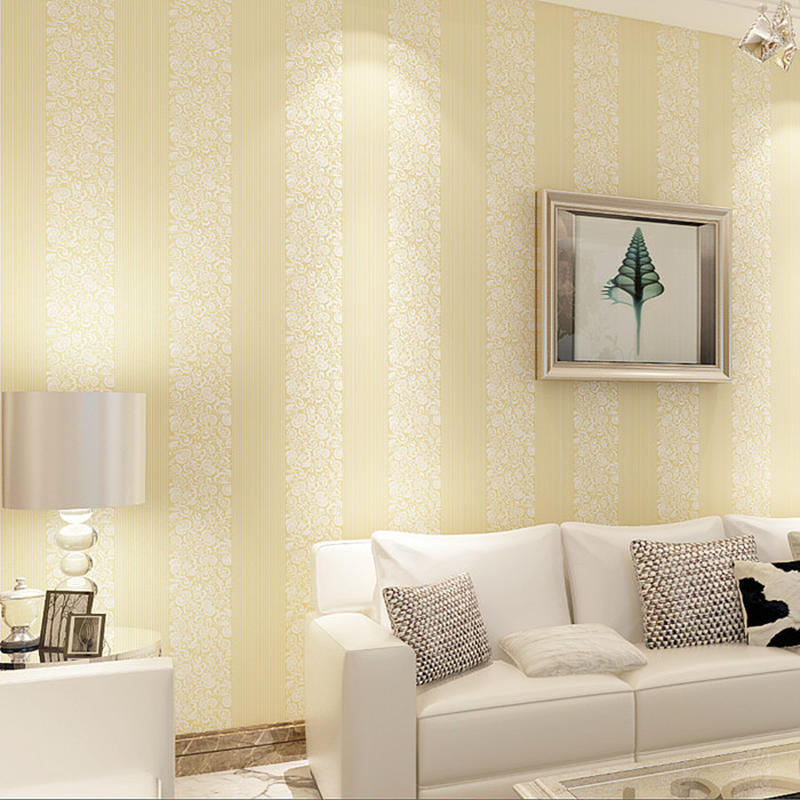 Modern minimalist bedroom 3D vertical stripes non woven ...