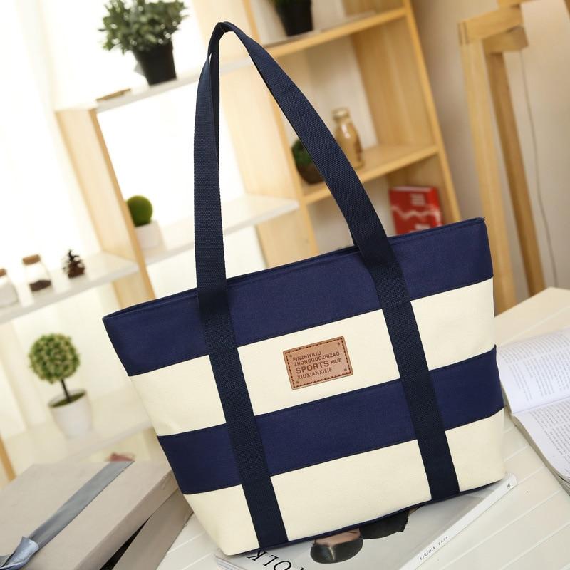 2018 Women Beach Canvas Bag Fashion Color Stripes Printing Handbags Ladies Large Shoulder Bag Totes Casual Bolsa Shopping Bags