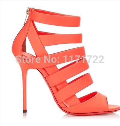 Newest design orange real leather fretwork women high heel summer strappy boots sandals