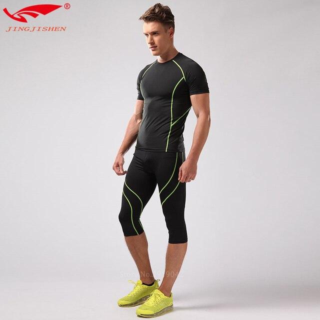 998d355b23a87 2 piezas trajes unids deportivos para Hombre Ropa para correr camiseta para Hombre  Ropa de gimnasio