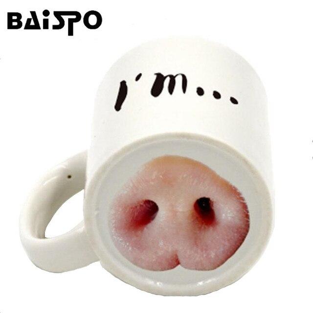 BAISPO Creative I am Pig Funny Ceramic Pork Nose / Dog Nose Office Cup  Coffee Coffee Mugs Free Shipping