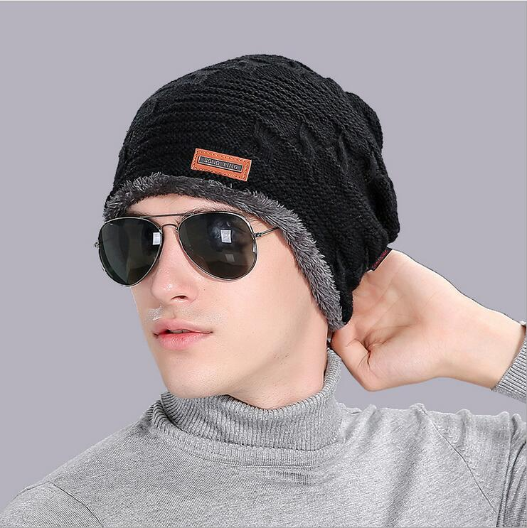 2017 New Autumn Winter Beanies hat For Men Thicken Fashion cap male wool warm hat ski cap Outdoor knitting cap fashion autumn and winter knitting wool hat men and women winter cap lovely hair ball beanies bone gorros accessory colorful new