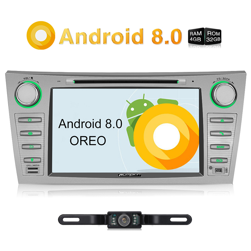 Citrouille 2 Din 8 ''Android 8.0 Autoradio Lecteur DVD GPS Navigation 4 gb RAM Wifi 4g Voiture stéréo Pour Toyota Camry/Aurio 2007-2011