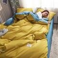 Комплект постельного белья из хлопка и полиэстера  двуспальный комплект постельного белья из хлопка желтого и синего цвета