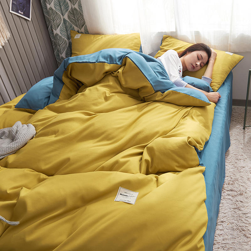 Yellow Blue Cotton Bedding Set Queen Size Solid Color Bed Linen King Bedclothes Set Duvet Cover Fitted Sheet Sets Double Bedding
