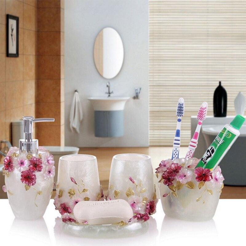 Accessoires de salle de bains en résine de luxe définit des fleurs roses porte-savon porte-brosse à dents produit de bain écologique cadeaux de mariage - 3