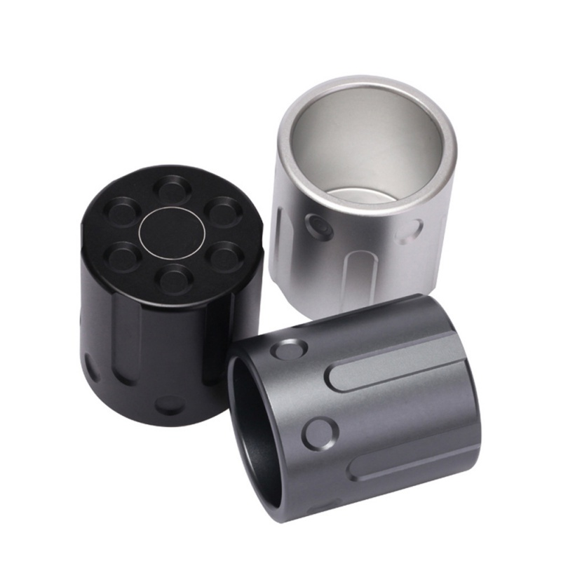 Outdoor Revolver Design Hiking Camping Traveling Aluminum Innovative Cup Alloy CNC Craft Black Silver Gray Gift Creative Tool