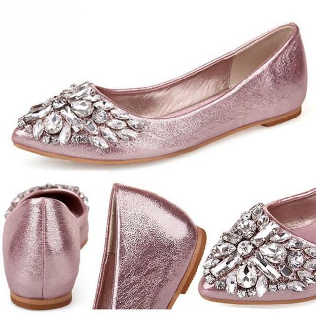 Rhinestone pointed toe flat heel shoes woman single shoes women fashion women flat shoes *35