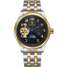Homem relógios lua fase digital aço mens relógios impermeável luxo tevise marcas moda relógio de pulso masculino automático mecânico