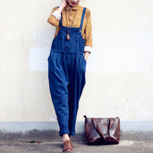 Women Casual Vintage Overalls Trousers Linen Pleated Cuffs Retro 2016 New Plus size Straps Jumpsuits Casual