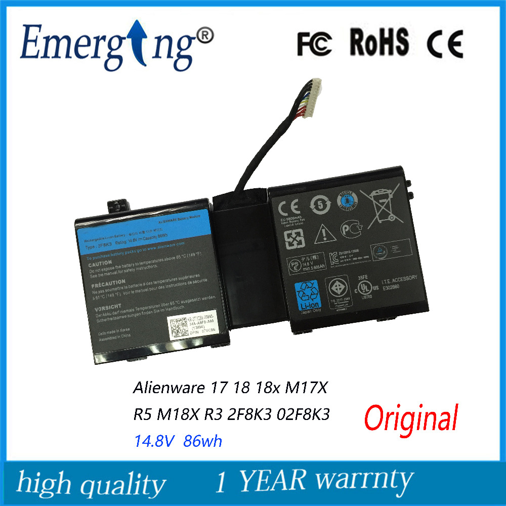 14.8V 86WH New Original Laptop Battery for DELL Alienware 17 18 18x M17X R5 M18X R3 2F8K3 02F8K3