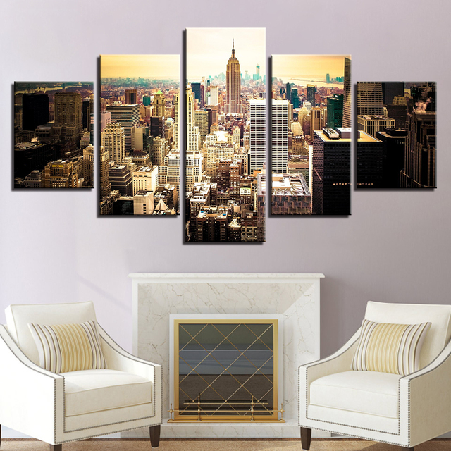 Wall Art Canvas Pictures Modular Home Decor 5 Pieces New York City Building  Aerial View Paintings