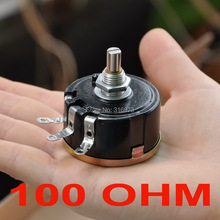 (2 pcs/lot) 100 OHM 5W Wirewound Rotary Potentiometer, WX112(050) Pots, 5 Watts.