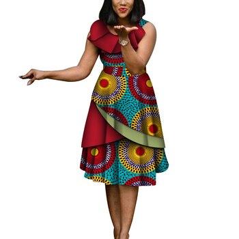 ea40ad12d3ee Di nuovo Modo di Abiti Africani per Le Donne Senza Maniche Sexy Bazin Riche  Africano del Cotone Della Stampa del Vestito Della Signora Vestiti Da  Partito ...