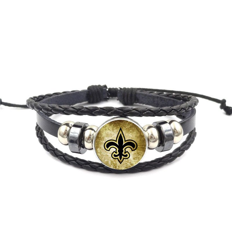 Symbol of New Orleans Glass Cabochon Black Leather Bracelet Bangle Vintage Handmade Jewelry For Schoolgirl Maxi image