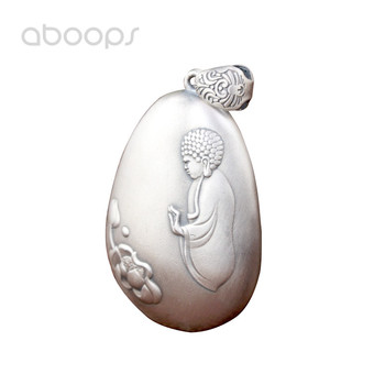 Matte 990 Sterling Silver Buddhism Necklace Pendant Embossed Buddha and Heart Sutra for Men Women Free Shipping