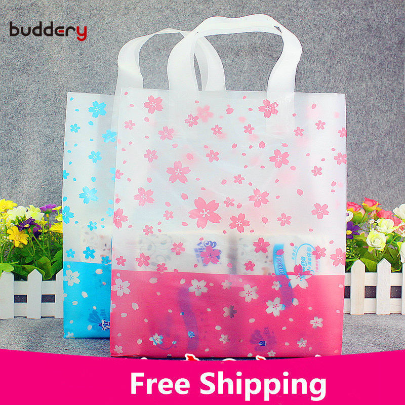 50pcs transparent frosted Plastic hand bag Shopping Carrier gift Bag for T-shirt