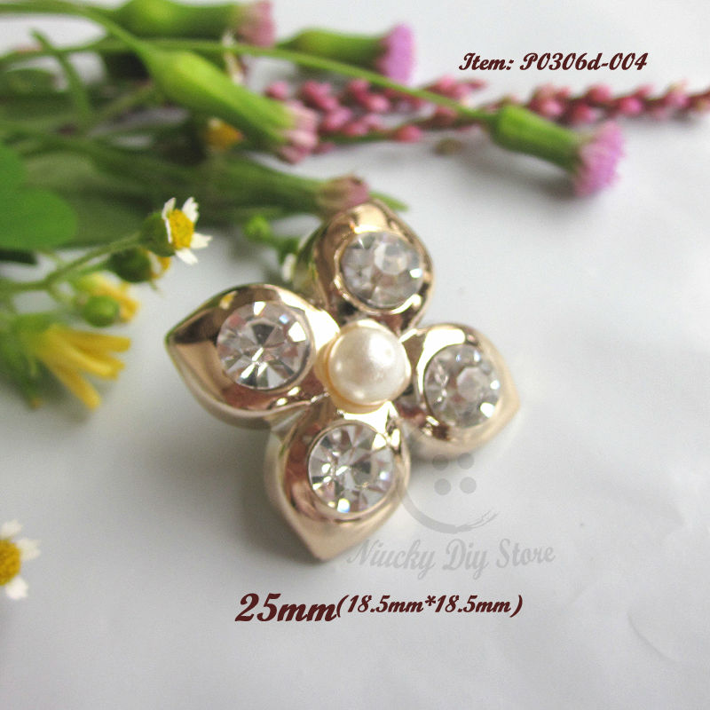144pcs 25mm ABS rose gold flower decoration buttons with pearl rhinestone embellishments sewing accessiores wholesale