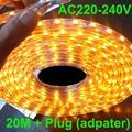 led rope light 20m led strip light 220v AC220V 230V 240VSMD 5050smd +Power plug,warm white/Cool white,60leds/m waterproof