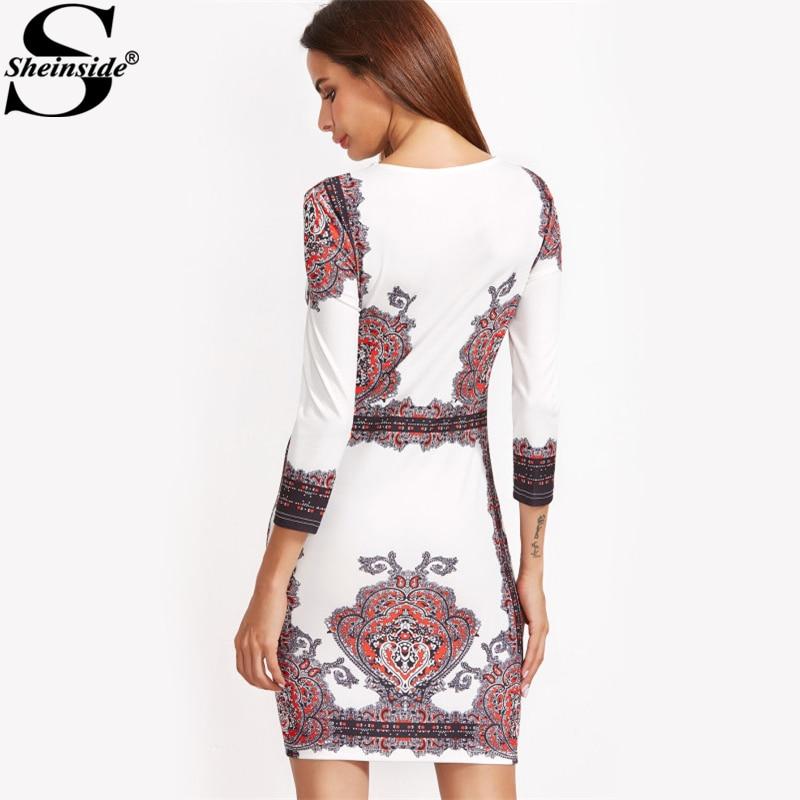 897f790eeb Ronda Vintage Multiple Longitud Mujeres Las Vestidos Vestido Bodycon Corta  Ropa Elegante 3 Cuello Sheinside De ...
