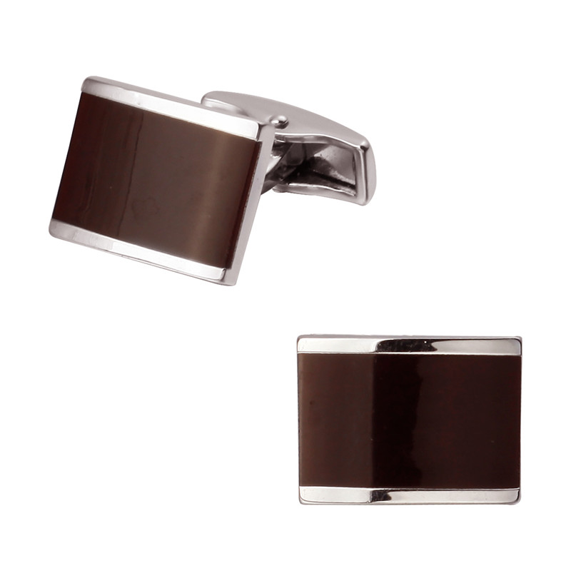 A pair of high quality brass material article silver red square enamel cufflinks new retail wholesale fashion men's shirts cuffl