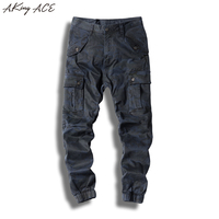 2017 AKing ACE Mens Camo Cargo Pants Military Camouflage Pants Men Militar Style Multi Pockets Mens