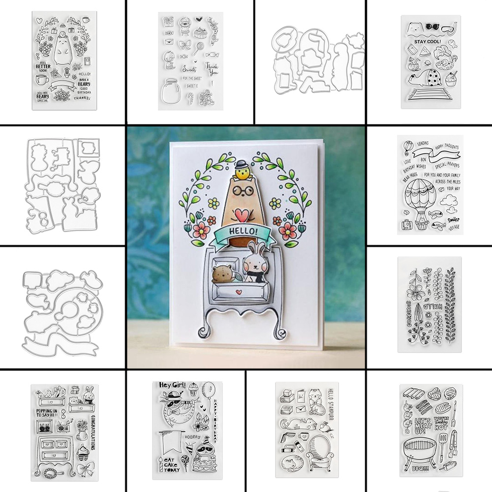 Decor Embossing DIY Crafts Girl Clear Stamps Cutting Dies Stencils Scrapbooking