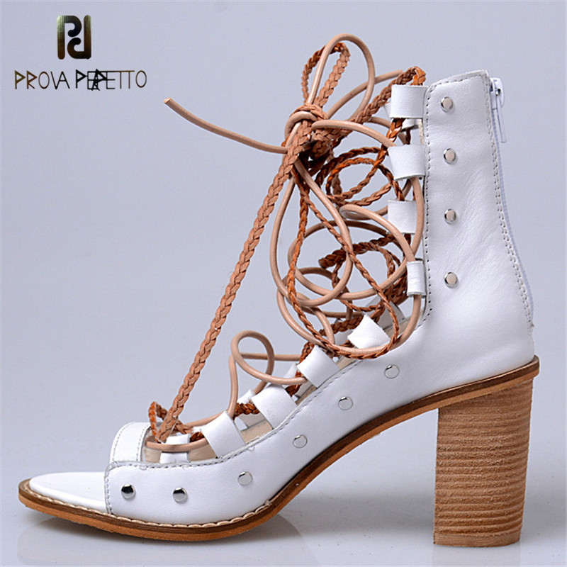 Prova Perfetto 2017 Summer Concise Style Peep Toe Lace Up High Heel Woman Sandals Rome Design Genuine Leather Chunky Heel Shoes цена 2017