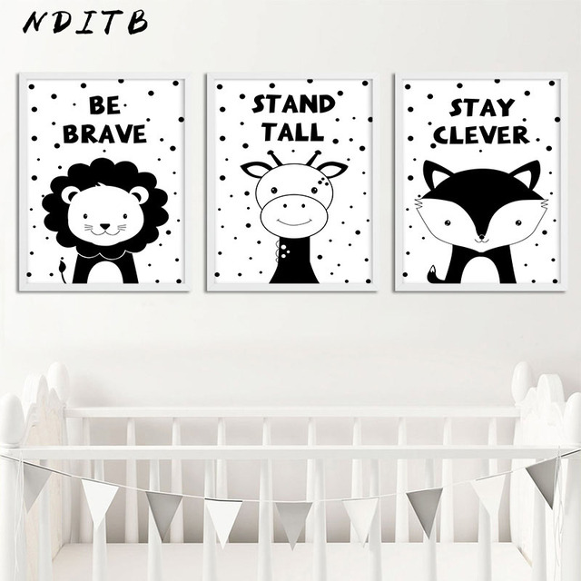 Nditb Woodland Animal Canvas Art Painting Poster Nursery Prints Black White Wall Picture For Baby Kids Living Room Decoration