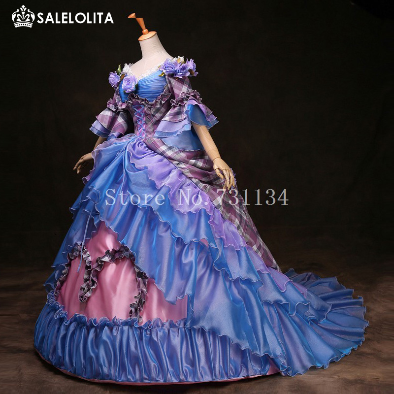 High end Blue Cinderella Gowns Marie Antoinette Party Dress 17th ...