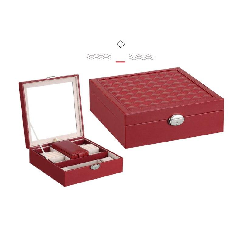 Luxusní kožené šperky box barevné pouzdro PU Jewel s zrcadlem Creative Storage Box 1 kus doprava zdarma