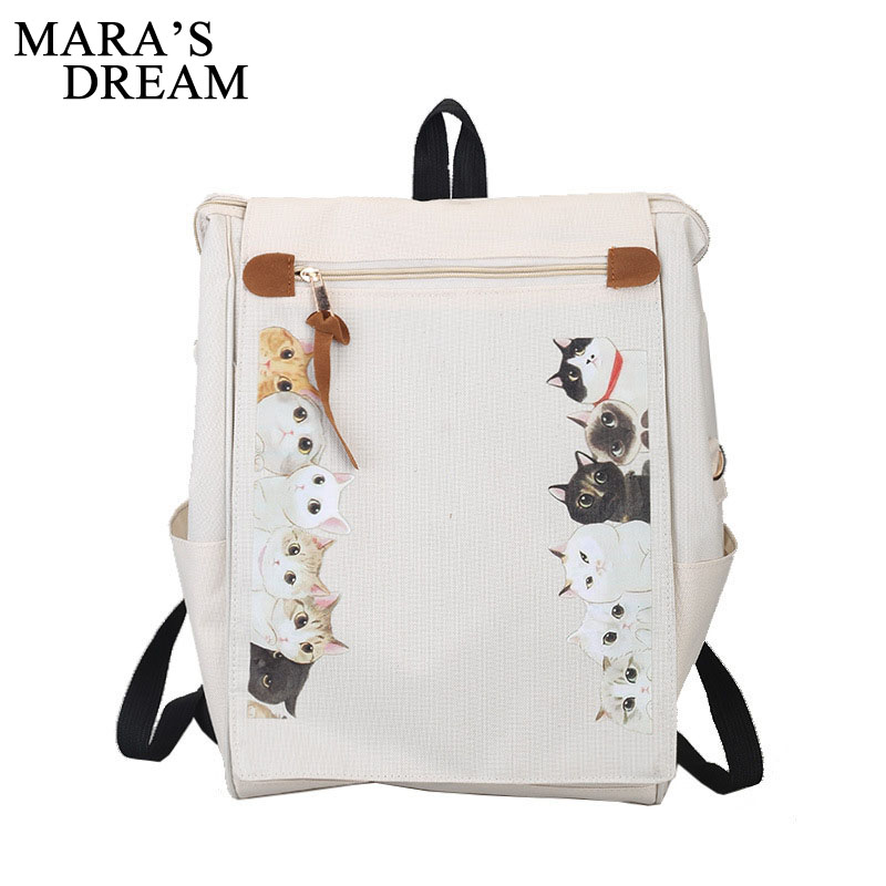 Mara's Dream Women Backpack Printing Canvas Cartoon Cute Shoulder Bag Schoolbag Backpacks For Teenage Girls Travel Bolsa Mochila zooler women s backpack eyes sequined designer black cartoon eyes backpacks travel bag cute shell backpacks for teenager girls