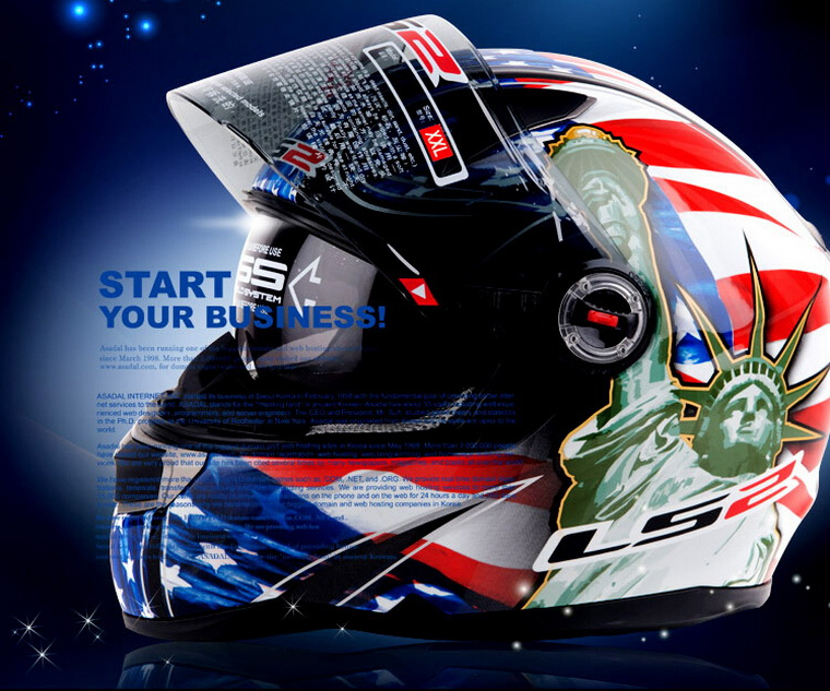 LS2 full face motorcycle helmet FF396 double-lens Motocross motorbike helmets made of Fiberglass with airbags ECE certification