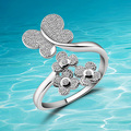 Korean fashion 925 sterling silver ring opening retro  butterfly  rings.Beautiful stones, noble  women's birthday present.